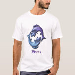 Pisces Sign Ladies Blue T-Shirt